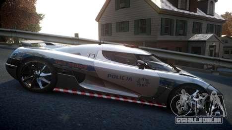 Koenigsegg Agera Polish Highway Patrol Police para GTA 4 vista de volta