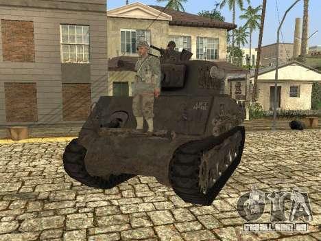 O Tanque M4 Sherman para GTA San Andreas traseira esquerda vista