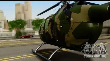 MBB Bo-105 Army para GTA San Andreas traseira esquerda vista