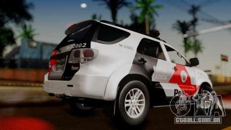 Toyota Hilux SW4 2014 Forca Tatica para GTA San Andreas esquerda vista