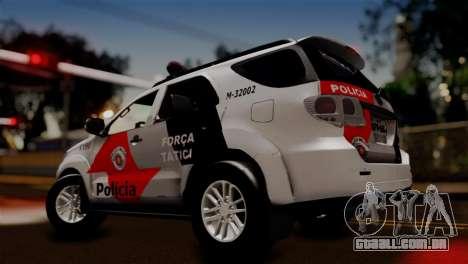Toyota Hilux SW4 2014 Forca Tatica para GTA San Andreas traseira esquerda vista