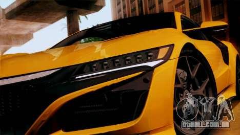 Acura NSX 2016 v1.0 SA Plate para GTA San Andreas vista direita