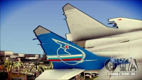 MIG-29 Fulcrum Reskin para GTA San Andreas traseira esquerda vista