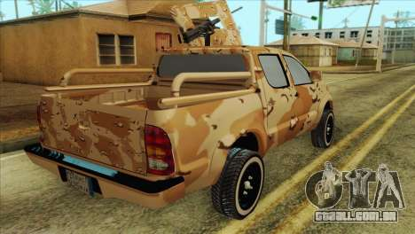 Toyota Hilux Siria Rebels without flag para GTA San Andreas traseira esquerda vista