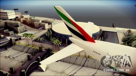 Airbus A380-800 Fly Emirates Airline para GTA San Andreas traseira esquerda vista
