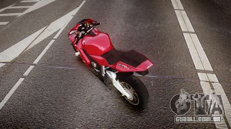 Honda CBR600RR para GTA 4 traseira esquerda vista