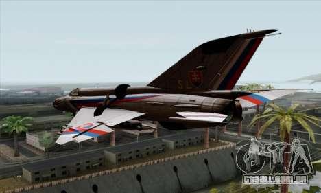 MIG-21MF Slovak Air Force SLP para GTA San Andreas esquerda vista