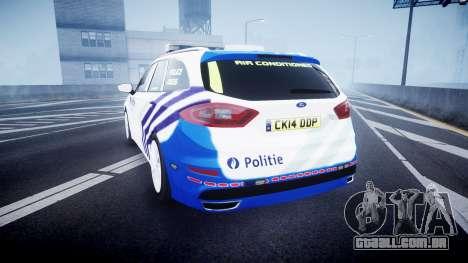 Ford Fusion Estate Belgian Police [ELS] Dog Unit para GTA 4 traseira esquerda vista