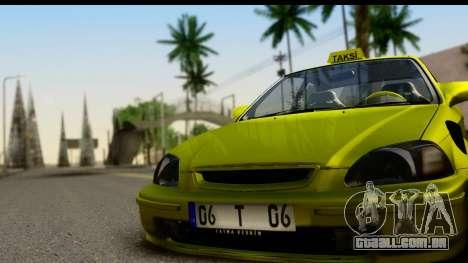 Honda Civic 1.4 Taxi para GTA San Andreas traseira esquerda vista