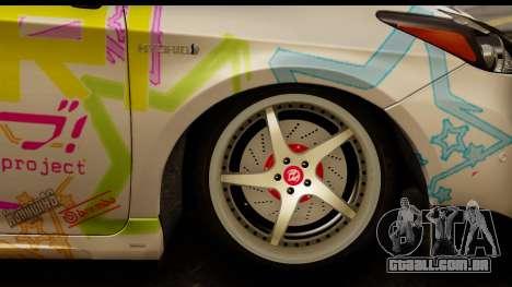 Toyota Prius Hybrid Eri Ayase Love Live Itasha para GTA San Andreas vista traseira
