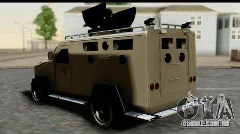 Camion Blindado para GTA San Andreas esquerda vista