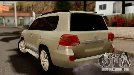Toyota Land Cruiser 200 2013 para GTA San Andreas esquerda vista