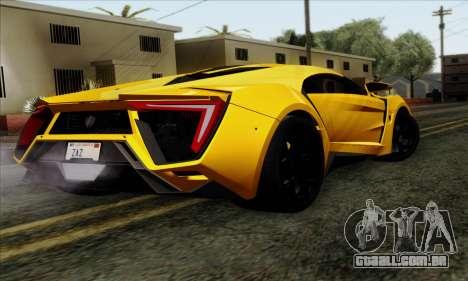 Lykan Hypersport 2014 Livery Pack 2 para GTA San Andreas esquerda vista