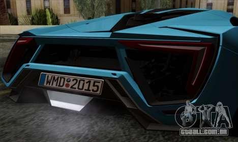 Lykan Hypersport 2014 EU Plate Livery Pack 2 para GTA San Andreas vista traseira