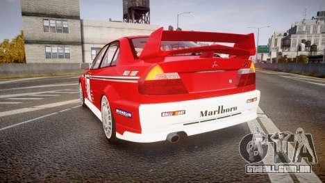 Mitsubishi Lancer Evolution VI 2000 Rally para GTA 4 traseira esquerda vista