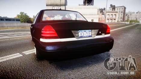 Ford Crown Victoria NYPD Unmarked [ELS] para GTA 4 traseira esquerda vista