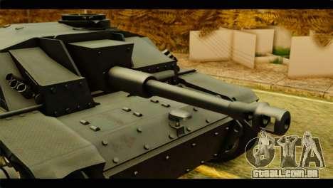 StuG III Ausf. G Girls und Panzer para GTA San Andreas traseira esquerda vista
