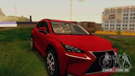 Lexus NX200T v2 para GTA San Andreas vista traseira