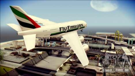 Airbus A380-800 Fly Emirates Airline para GTA San Andreas esquerda vista
