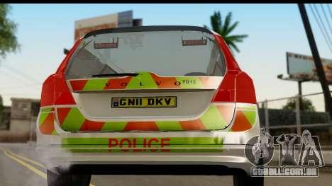 Volvo V70 Kent Police para GTA San Andreas vista direita