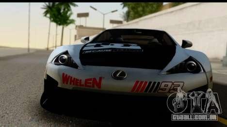 Lexus LFA 2010 Kaneki Ken Itasha para GTA San Andreas traseira esquerda vista