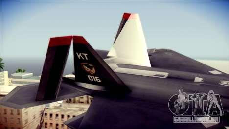 F-22 Raptor Razgriz para GTA San Andreas traseira esquerda vista