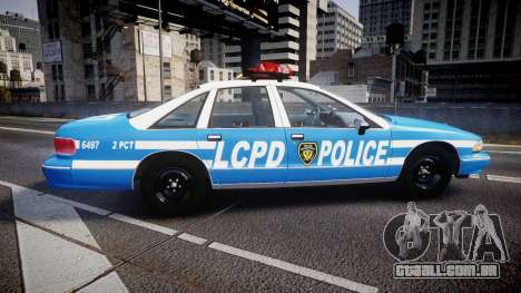 Chevrolet Caprice 1993 LCPD Without Hubcabs ELS para GTA 4 esquerda vista