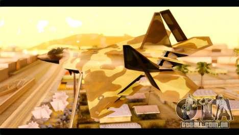 F-22 Raptor Desert Camouflage para GTA San Andreas esquerda vista