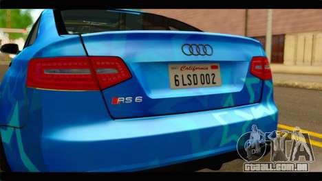Audi RS6 VIP Star para GTA San Andreas vista traseira