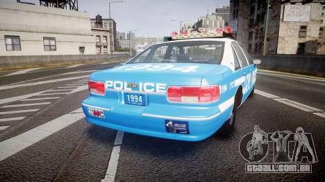 Chevrolet Caprice 1994 LCPD Patrol [ELS] para GTA 4 traseira esquerda vista