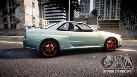 Nissan Skyline R34 GT-R M-Spec Nur para GTA 4 esquerda vista