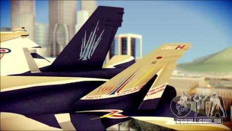 FA-18D Hornet RCAF para GTA San Andreas traseira esquerda vista