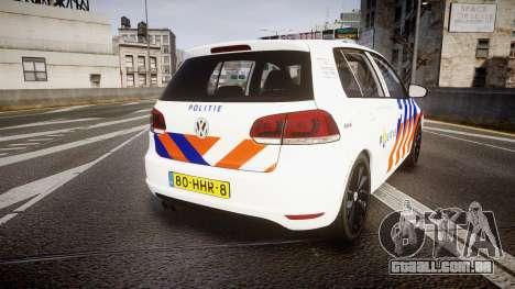 Volkswagen Golf Mk6 Dutch Police [ELS] para GTA 4 traseira esquerda vista