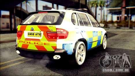 BMW X5 Kent Police RPU para GTA San Andreas esquerda vista