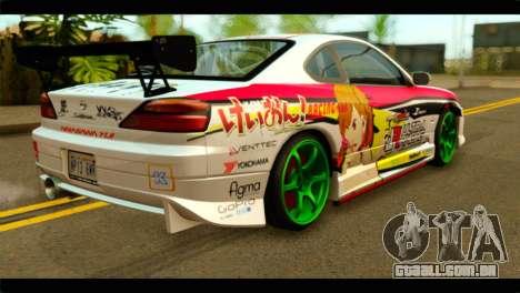 Nissan Silvia S15 Drift Hirasawa Yui Itasha para GTA San Andreas esquerda vista