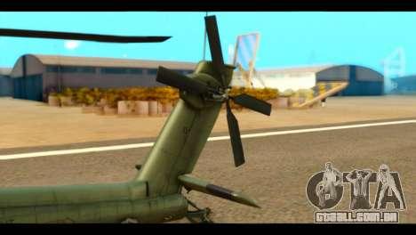 Boeing AH-64D Apache para GTA San Andreas traseira esquerda vista