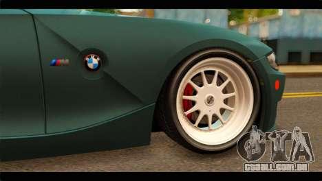 BMW Z4M Coupe para GTA San Andreas traseira esquerda vista