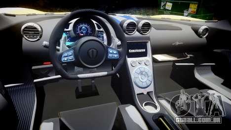 Koenigsegg Agera 2013 Police [EPM] v1.1 PJ1 para GTA 4 vista interior