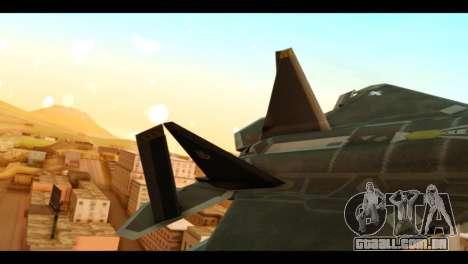 F-22 Raptor Flash para GTA San Andreas traseira esquerda vista