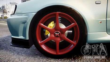 Nissan Skyline R34 GT-R M-Spec Nur para GTA 4 vista de volta