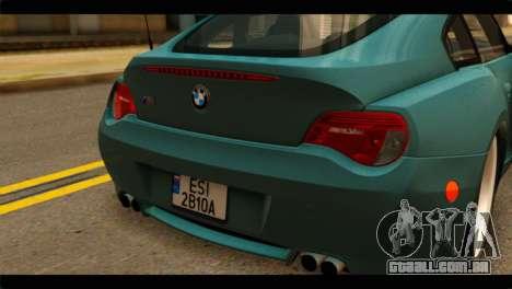 BMW Z4M Coupe para GTA San Andreas vista traseira