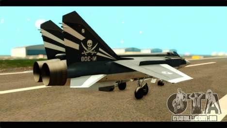 MIG-31 Pirat Squadron para GTA San Andreas esquerda vista