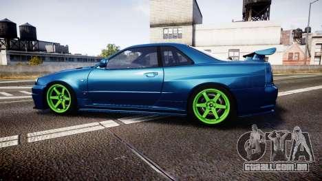 Nissan Skyline BNR34 GT-R V-SPECII 2002 para GTA 4 esquerda vista