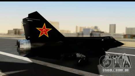 Mikoyan-Gurevich MIG-31 China Air Force para GTA San Andreas esquerda vista