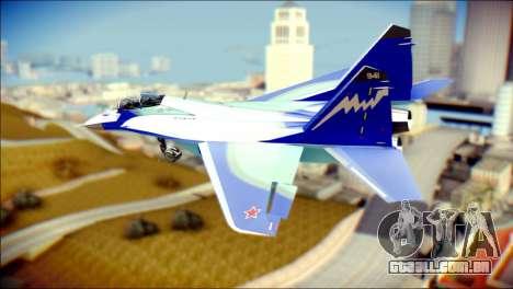 Mikoyan-Gurevich MIG-29K UB 341 Blue para GTA San Andreas esquerda vista