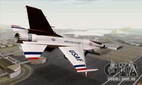 F-16C USAF Thunderbirds para GTA San Andreas esquerda vista