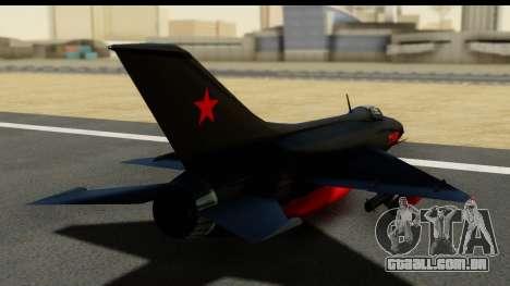 MIG-21F Fishbed B URSS Custom para GTA San Andreas esquerda vista