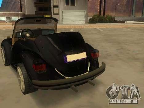 Volkswagen Beetle 1984 para GTA San Andreas traseira esquerda vista
