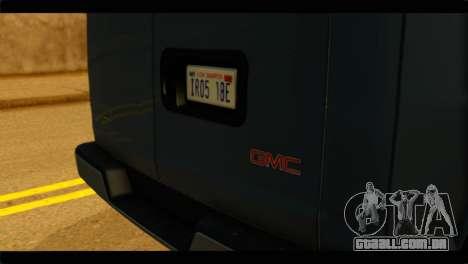 GMC Savana 3500 Passenger 2013 para GTA San Andreas vista traseira
