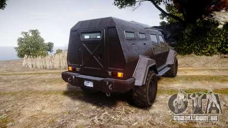 GTA V HVY Insurgent para GTA 4 traseira esquerda vista